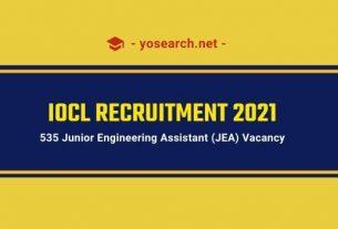 iocl junior engineering assistant recruitment 2021