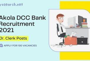 Akola DCC Bank Jr Clerk Recruitment 2021