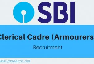 SBI Clerical Cadre Armourers Recruitment