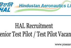 HAL Recruitment for Senior Test Pilot