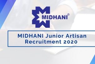 MIDHANI Junior Artisan Recruitment 2020