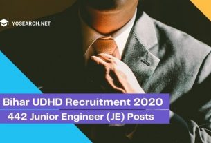 Bihar UDHD Recruitment 2020 for 442 Junior Engineer