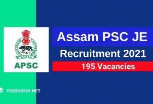 APSC JE Recruitment 2021