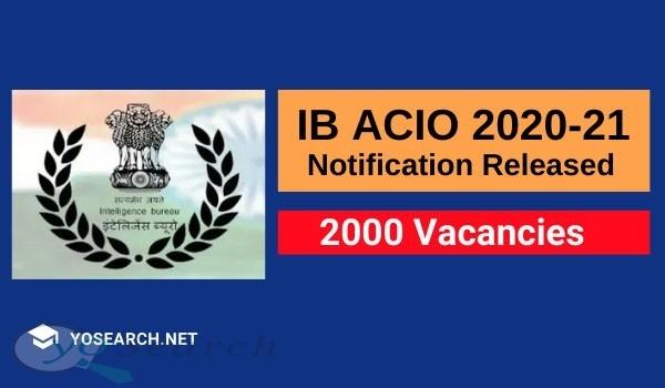 Intelligence Bureau ACIO Recruitment 2021