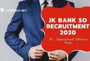 J&K Bank Specialist Officer Recruitment