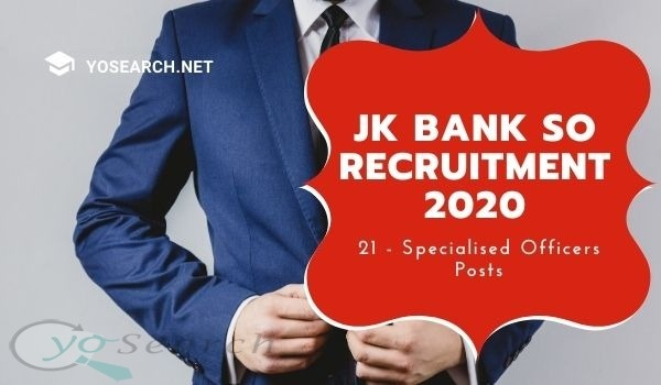 J&K Bank Specialist Officer Recruitment