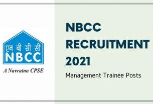 NBCC Management Trainee Recruitment 2021