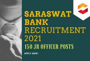 Saraswat Bank Junior Officer Recruitment 2021