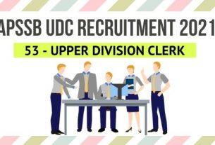 APSSB UDC Recruitment 2021